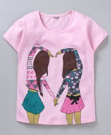 Curlous Short Sleeves Best Friends Print Tee - Pink