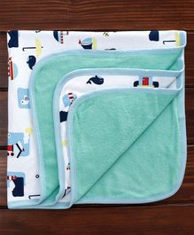 Ohms Baby Blanket Multi Print - Blue White