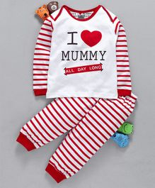 Mini Taurus Full Sleeves Tee & Lounge Pant I Love Mummy Print - Red