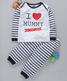 Mini Taurus Full Sleeves Tee & Lounge Pant I Love Mummy Print - Navy Blue