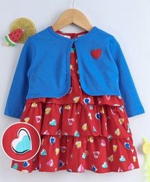 Olio Kids Layered Frock With Full Sleeves Shrug Hearts Print - Red Blue