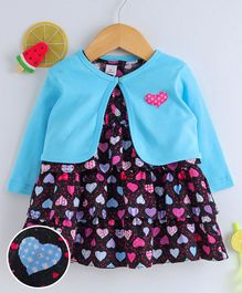 Olio Kids Layered Frock With Full Sleeves Shrug Hearts Print - Black Blue