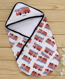 Doreme Hooded Wrapper Fire Brigade Print - White