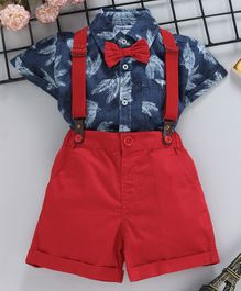 6e9f5a6314c75 ToffyHouse Half Sleeves Shirt With Solid Shorts & Suspender Tropical Print  - Blue Red