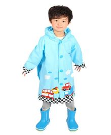 Pre Order - Awabox Full Sleeve Car Printed Raincoat With Attached Bag - Light Blue