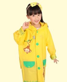 Pre Order - Awabox Full Sleeves Monkey Printed Raincoat With Attached Bag - Yellow