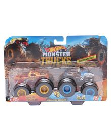 Hot Wheels MT Demolitions Double Monster Truck Spur Moment Vs Steer Clear - Orange Blue