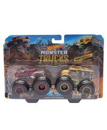 Hot Wheels MT Demolitions Double Monster Truck Hotweiler Vs Hound Hauler - (Color & Design May Vary)