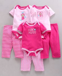 Fisher Price Body Suit & Leggings Monkey Print Set Of 6 - Pink