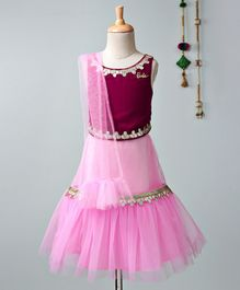 Barbie By Many Frocks & Gota Patti Design Sleeveless Choli & Lehenga With Dupatta Set - Pink