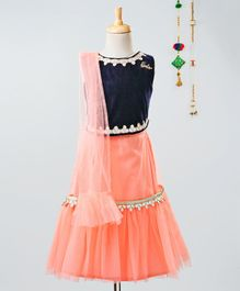 Barbie By Many Frocks & Gota Patti Design Sleeveless Choli & Lehenga With Dupatta Set - Blue & Peach