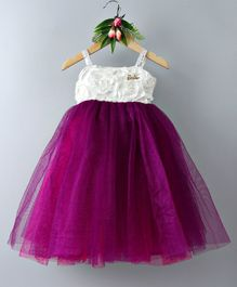 Barbie By Many Frocks & Flower Embellished Sleeveless Dress - Purple