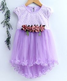 Superfie Cap Sleeves Floral Embroidered High Low Hem Style Dress - Purple
