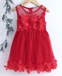 Superfie Sleeveless Floral Decorated Dress - Red