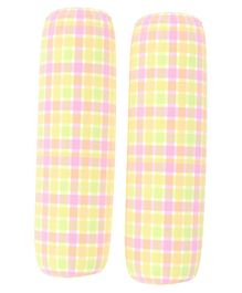 Fancy Fluff Set of 2 Bolsters Checks Prints - Green Pink