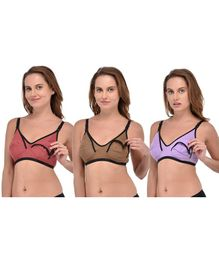 Fabme Non-Wired Nursing Pack Of 3 Bra - Purple Maroon & Brown