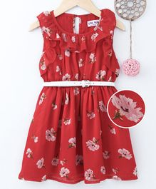 Soul Fairy Flower Print Sleeveless Ruffle Dress With Belt - Red