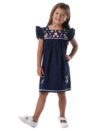Cherry Crumble by Nitt Hyman Cap Sleeves Flower Embroidered Dress - Navy Blue