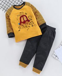 Babyhug Full Sleeves Tee And Lounge Pant Car Print - Yellow Grey