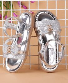 Cute Walk by Babyhug Party Wear Sandals With Glitter Bow Motif - Silver