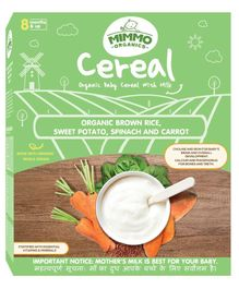 Mimmo Organics Brown Rice Sweet Potato Spinach & Carrot Baby Cereal - 300 gm