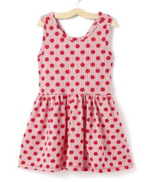 M'andy Polka Dot Print Sleeveless Dress - Pink