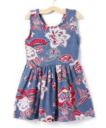 M'andy Floral Print Sleeveless Dress - Blue