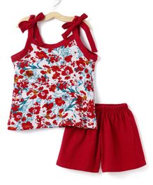 M'andy Speggetti Printed Sleeveless Top & Shorts Set - Red