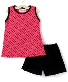 M'andy Printed Sleeveless Top & Shorts Set - Pink & Black