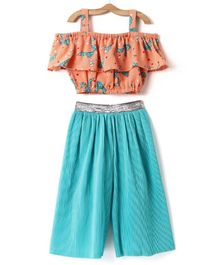 M'andy Bow Print Sleeveless Top & Palazzo Set - Orange & Blue