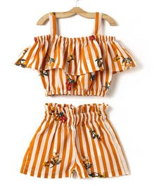 M'andy Striped Sleeveless Top & Shorts Set - Orange
