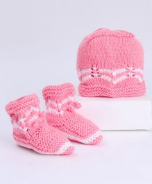 Babyhug Cap & Booties Set Geometric Design - Pink