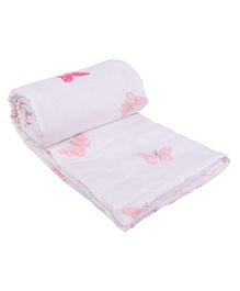 Mom's Home Organic Cotton Baby Quilt Blanket Cum Bedspread Butterfly Print - White Pink