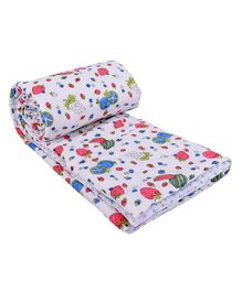 Mom's Home Organic Cotton Baby Quilt Blanket Cum Bedspread Fruits Print - Blue Red