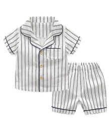 Pre Order - Awabox Short Sleeves Striped Night Suit - White