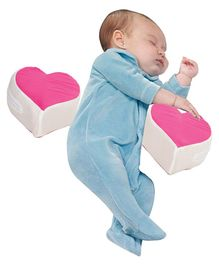 Get It Double Heart Shape Anti Roll Baby Side Pillow - Pink
