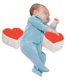Get It Double Heart Shape Anti Roll Baby Side Pillow - Red