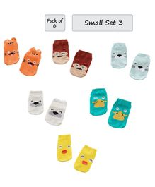 Syga Animal Design Anti Slip Ankle Length Socks Pack of 6 Pairs - Multicolor
