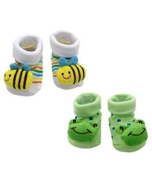 Syga Bee & Froggy Motif Sock Shoes Pack of 2 Pairs - White Green