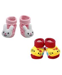 Syga Bunny & Kitty Motif Sock Shoes Pack of 2 Pairs - Pink Red