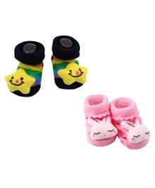 Syga Bunny & Star Motif Sock Shoes Pack of 2 Pairs - Black Pink