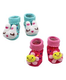 Syga Bunny & Flower Motif Sock Shoes Pack of 2 Pairs - Blue Pink