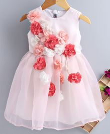 Kidsdew Flower Applique Sleeveless Dress - Pink