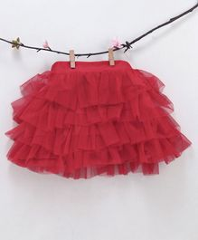 Kidsdew Ruffled Solid Elasticated Skirt - Red