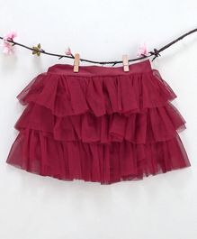 Kidsdew Solid Ruffled Elasticated Skirt - Maroon