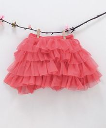 Kidsdew Solid Ruffled Elasticated Skirt - Orange