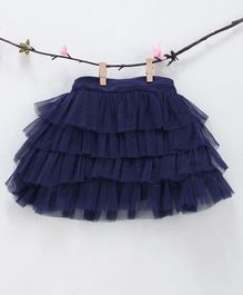 Kidsdew Solid Ruffled Elasticated Skirt - Blue