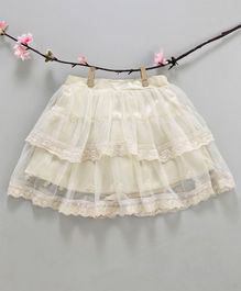 Kidsdew Flower Embroidered Elasticated Skirt - Beige