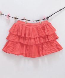 Kidsdew Solid Ruffled Elasticated Skirt - Pink