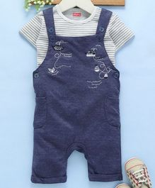 Babyhug Dungaree With Half Sleeves Tee and Embroidered Print - Blue & Grey